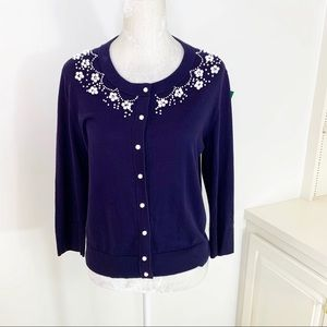 Kate Spade Navy Beaded Neck Cardigan Sweater L